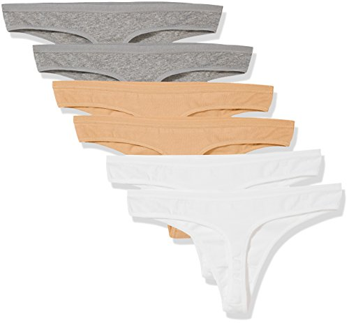 Madeline Kelly Women's 6 Pack Cotton Thong Gray-Gray-Beige-Beige-White-White L