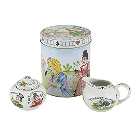 Cardew Design Alice in Wonderland Porcelain 7.25-Ounce Covered Sugar and Creamer Set in a Tin Gift - Tea Hostess Set