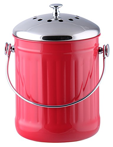 Kitchen Maestro 1 Gallon Counter Top Stainless Steel Compost Bin, 2 Odor Absorbing Filter Sets Included, + BONUS 50 Compost Bags included. (Red) (Compost Bins Kitchen compare prices)