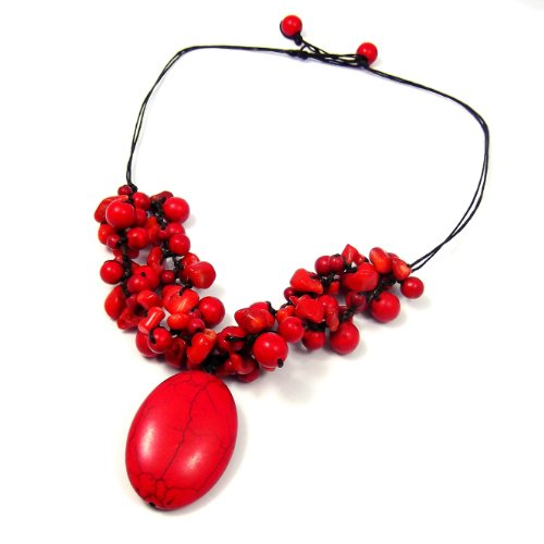 Reconstructed Red Coral Clusters and Reconstructed Red Howlite Oval Pendant Necklace