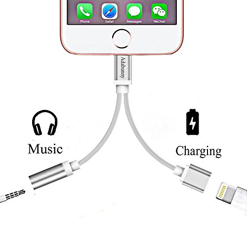 2 in 1 Lightning to 3.5mm Audio Adapter, ADABUNNY Lightning Charger, Lightning to 3.5mm Aux Headphone Jack Adapter for iphone 7 / 7 plus [No Calling Function and No Music Control] (2-1 Silver)