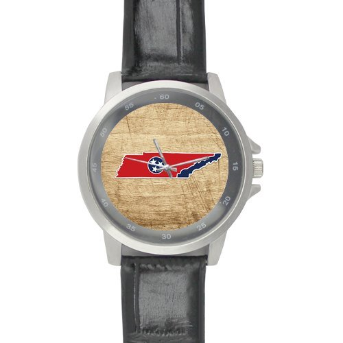 Valentine's Day Boyfriends/Girlfriends Gifts Presents Tennessee State Home Flag Unisex Leather Strap Watch