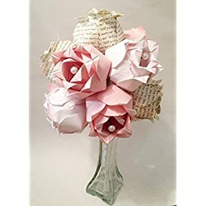 A Dozen Two-toned Paper Roses- Custom first anniversary gift, Personalized origami, paper roses, vase included 19