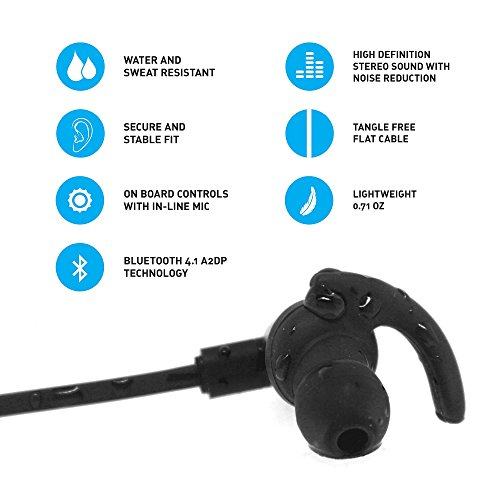 jarv nmotion excel sport wireless earbuds sweat proof and. Black Bedroom Furniture Sets. Home Design Ideas