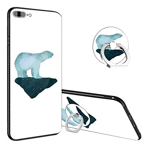iPhone 8 Plus Case,Polar Bear Fierce iPhone 7 Plus Tempered Glass Back Cases with Finger Ring Stand, 360°Rotatable Ring Holder Kickstand Fashoin Soft TPU Bumper Frame Case for iPhone 7/8 -