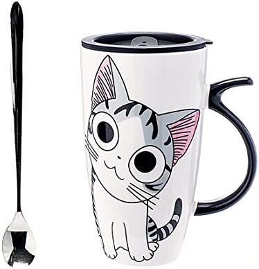 Details about  /Cute Cat Coffee Mug Lid /& Spoon Porcelain Team Cafe Cup Portable 450 ml Gift