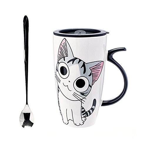 Cute Cat Style Ceramic Mugs with Lid & Spoon Cartoon Creative Moring Mug Milk Coffee Tea Unique Porcelain Cups 600ml YJ001 (B)