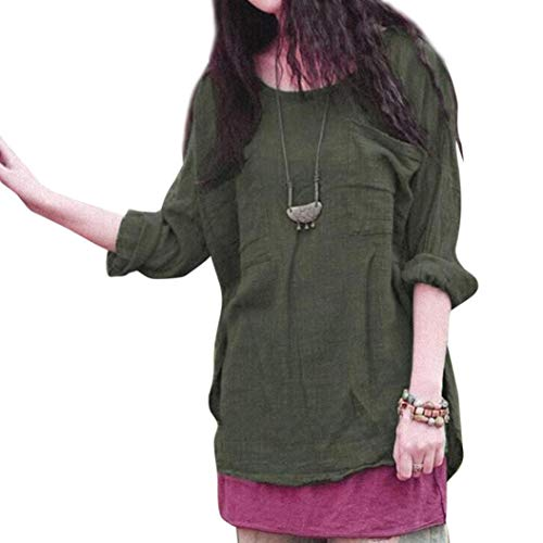 ClearanceWomensTops,KIKOY Cotton Linen Thin Section Loose Long-Sleeved Blouse