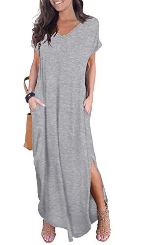 GRECERELLE Solid V-Neck Pocket Loose Maxi Dress Gray M (Guess Baby For Dresses)