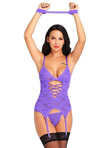 bd8067e0b5 Cherrydew Women s Sexy Lingerie Set Sheer Lace Teddy Bodysuit with Garter  Belts