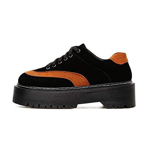 Femme Suede Automne Chaussures Lacet Orteils Black Comfort DANDANJIE Oxfords Chaussures Talons Up Ronds 5fOpwwqxB