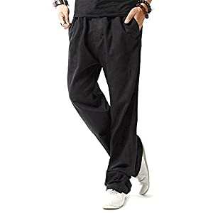 TBMPOY Men's Linen Casual Elastic Loose Fit Straight Pants Yoga Beach Summer Trousers