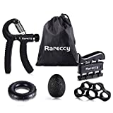 Rareccy Hand Grip Strengthener Workout Kit 5 Pack, Hand Grip Exerciser Set, Including Adjustable Resistance Hand Gripper, Finger Exerciser, Finger Stretcher, Stress Relief Grip Ball, Grip Ring