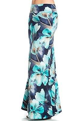 Junky Closet Women's Print Foldover High Waisted Floor Length Maxi Skirt