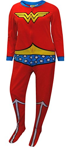 DC Comics Wonder Woman Fleece Junior Cut Onesie Footie Pajama for women (Large) (Superman Adult Onesie)