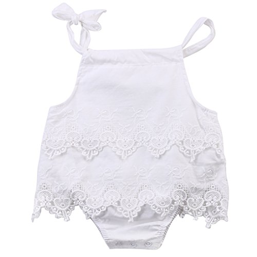 Newborn Baby Girl Infant Romper Jumpsuit Bodysuit Tutu Lace Dress Clothes Outfit (6-12 Months, White)