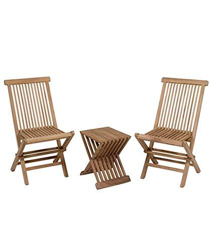 Dabudae Conjunto de Mesa con 2 sillas para terraza y jardín: Amazon ...