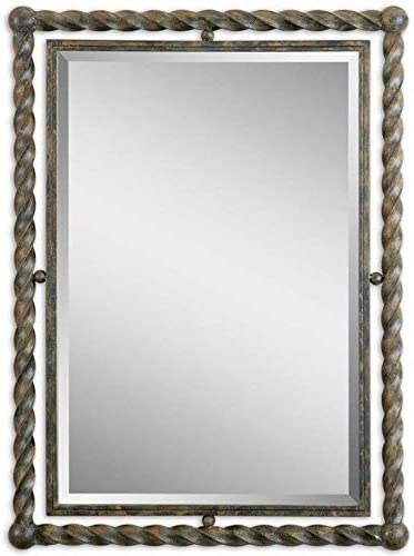 Uttermost Garrick Wrought Iron Wall Mirror in Rush Wash Black Udnertones