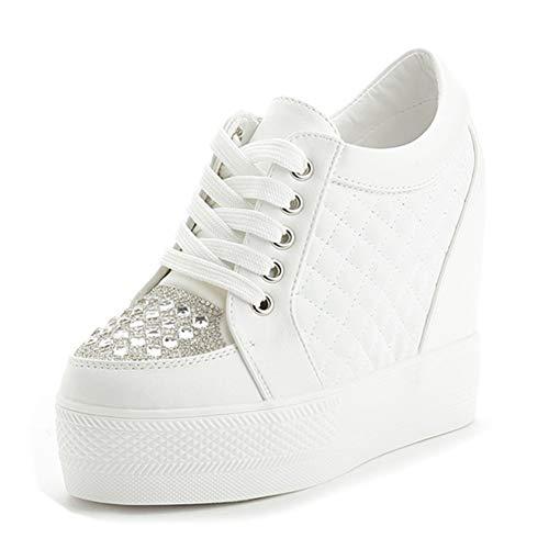 (ACE SHOCK Women Summer Wedge Sneakers High Heel Rhinestone Upper Wide Width Walking Shoes (7, White-Rhinestone))