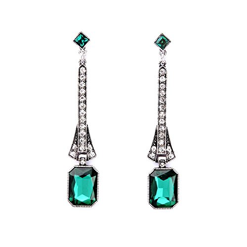 Art Deco Antique Vintage Flapper Style Emerald Rhinestone Extra Long Dangle Earrings (Jewelry Costume Vintage Estate)