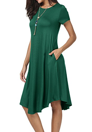 Green Soft Dress - levaca Womens Summer Short Sleeve Loose Beach Casual Flowy Midi Dress Green M