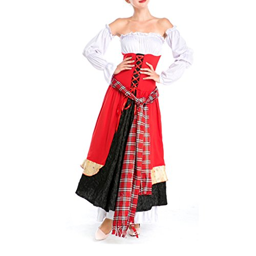 Elizabethan Queen Adult Plus Costumes (Partiss Womens Elegant Deluxe Renaissance Medieval Lace-Up Lady Costume.One size,Red)