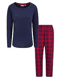Mountain Warehouse Womens Flannel Pyjama Set - Easy Care & Cosy PJs Red Medium