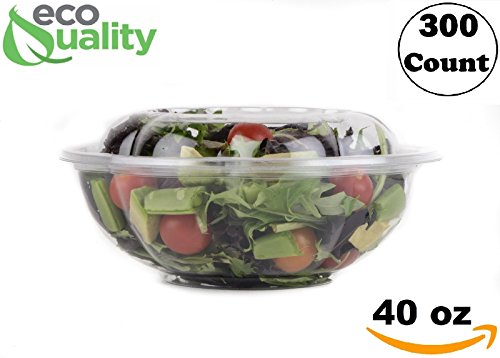 40oz Salad Bowls To-Go with Lids (300 Count) - Clear Plastic Disposable Salad Containers | Airtight, Lunch, Salads, Parfait, Fruits, Leak Proof, Airtight, Fresh, Meal Prep | Rose Bowl Container (40oz)