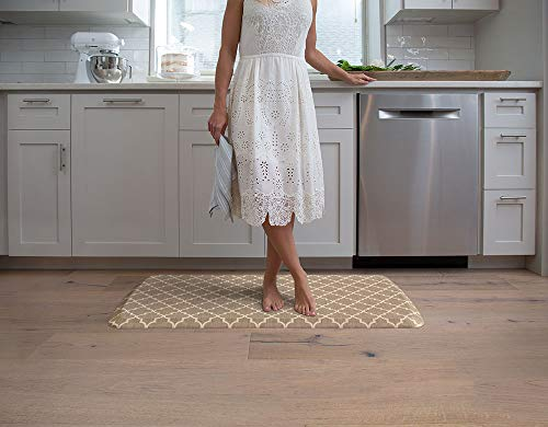 "GelPro Elite Premier Anti-Fatigue Kitchen Comfort Floor Mat, 20x36"", Lattice Tan Stain Resistant Surface with therapeutic gel and energy-return foam for health & wellness"