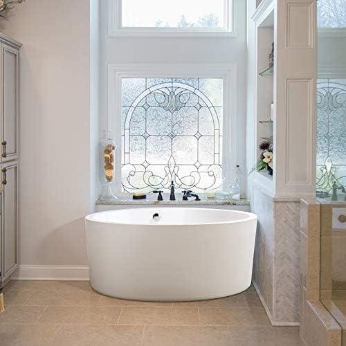 Vanity Art 59-Inch Freestanding Acrylic Bathtub Modern Stand Alone Soaking Tub with Chrome Finish UPC Certified Round Overflow Pop-up Drain VA6810