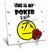 3dRose All Smiles Art Sports and Hobbies - Funny This is my Poker Face Smiley Face with Playing cards - 6x6 Desk Clock (dc_288051_1)