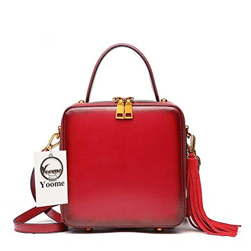 Vintage bandoulière sacs les rouge fourre Sacs vache pour Girls de carrée Fashion en à Sacs gland tout à main cuir Yoome Brown en 4pqwC