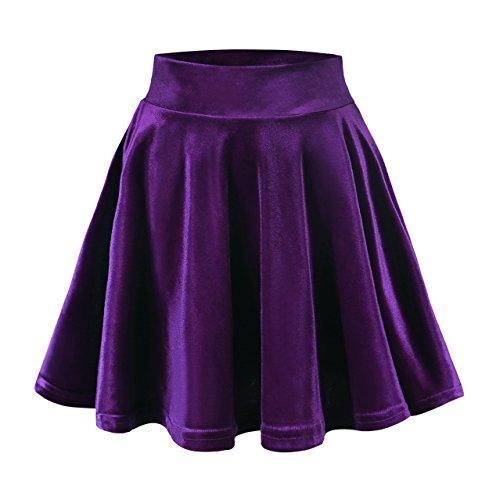 Urban CoCo Women's Vintage Velvet Stretchy Mini Flared Skater Skirt (S, Purple)