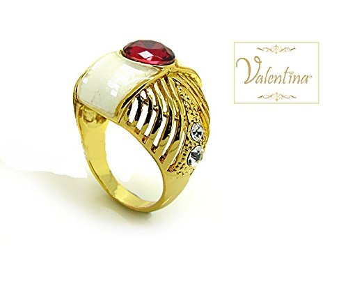 Valentina Gold Plated Ring with Red Round Center Swarovski Crystal & MOP (Ring Size 7)