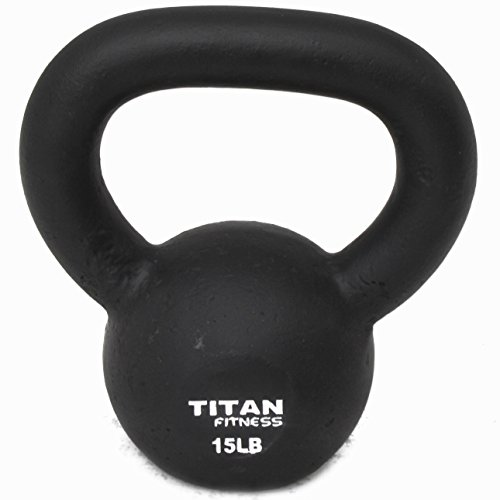 Cast Iron Kettlebell Weight 15 Lbs Natural Solid Titan Fitness Workout Swing