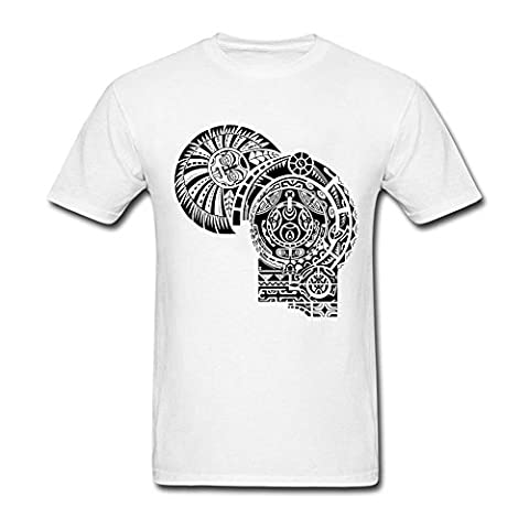 Mens Dwayne Johnson The Rock Tattoo Tee Classical Tshirt White XXL (Warrior Cat Necklace)