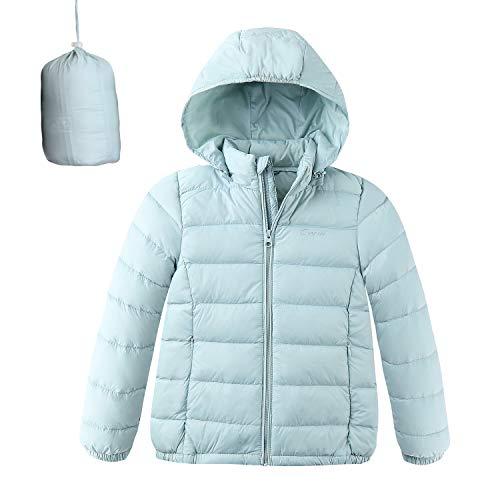 Jacket Girls Hooded Puffer (CUNYI Boys Girls Hooded Portable Lightweight Down Jacket Coats, Sky Blue, 5-6 T/ 120)