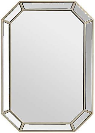 ヨーロピアンスタイルの木製八角形の鏡化粧鏡壁掛け鏡トイレ洗浄鏡浴室鏡継ぎ手鏡面取り化粧鏡