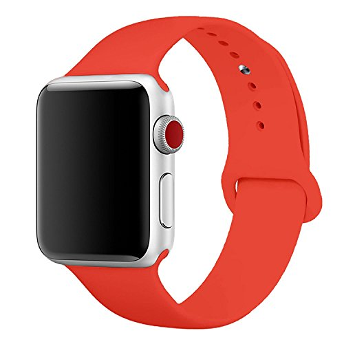MOTEEV Band for 42mm Apple Watch,Soft Silicone Sport Band [3 Pieces for 2 Lengths] Large/Small Wrist Strap Replacement for Apple Watch 1 2 3 All Models 42mm - Orange by MOTEEV