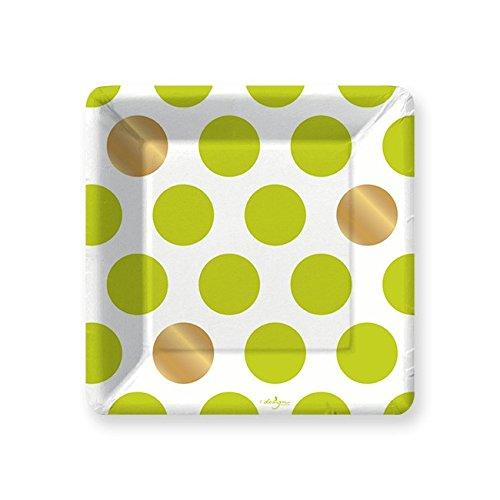 Design Design Kenzie Lime Green White Gold Polka Dots Paper Salad Dessert Plates (8 count)