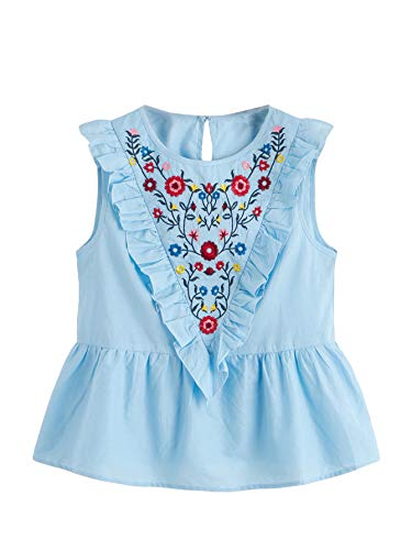 Romwe Women's Cut Sleeveless Embroidery Peplum Top Cotton Blouse Blue Small