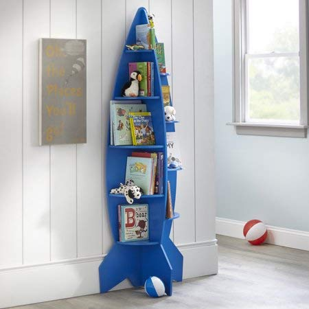 Reading and Make Their Room Super-Awesome with Fun and Unique Mainstays Kids Rocket Shaped Bookshelf,Great for Storing Toys,Action Figures,Dolls,Race Cars and Other, Blue ()