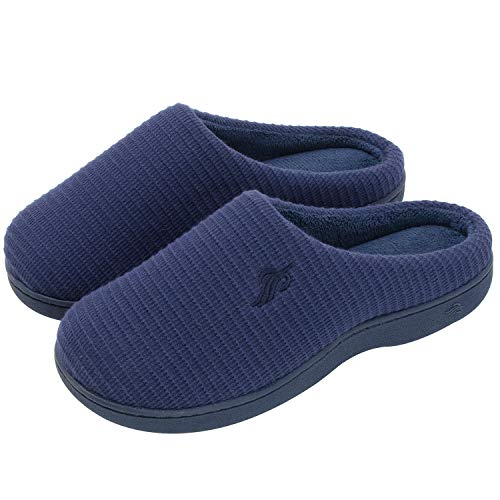 Memory Foam Women's w Slippers House Cotton Indoor Navy Wishcotton Sole Outdoor Breathable wqUICxtt