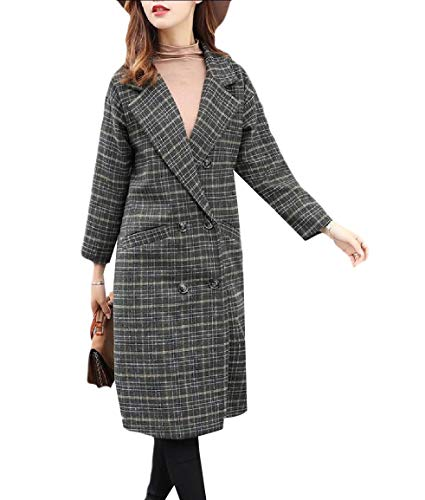 (Vska Women's Classic Skinny British Style Eco Fleece Plaid Duffle Coat Green L)