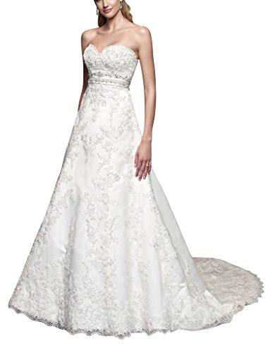 Schatzausschnitt Perlen Weiß Hochzeitskleid satin vollen Reichen GEORGE applique BRIDE Spitze qUw40x0Z