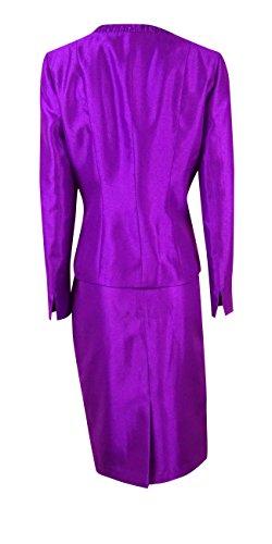 Le Suit Women's Shantung Pleated Collar Skirt Suit (4, Amethyst) by Le Suit (Image #3)