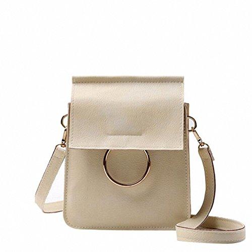 Women Messenger Bags Solid Color Big Ring Circle Women Long Strap Crossbody Bags For Women Bolsos Mujer bolsa feminina NEW Beige
