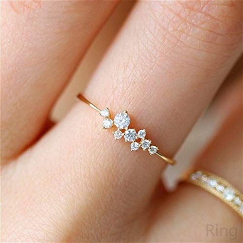 Simple 18k Gold plating Color Rings for Teen Girls Class Heart White Sapphire Studded Eternity Wedding Ring 925 Sterling Silver Engagement Stackable Diamond Rings Women Fashion Jewelry(Gold,5) ()