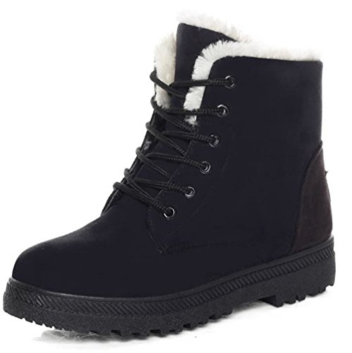 DADAWEN Women's Suede Waterproof Lace Up Winter High Top Snow Boots Black US Size 5