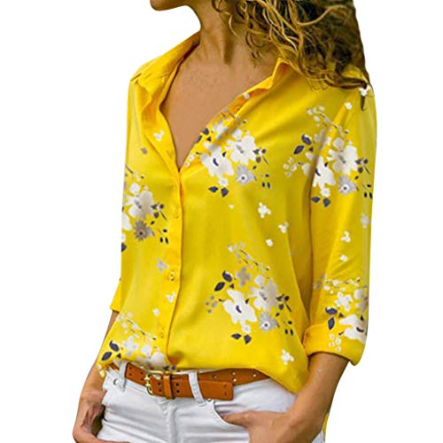 RIUDA Women Print Button Plus Size V-Neck Loose Blouse Pullover Tops Shirt Yellow